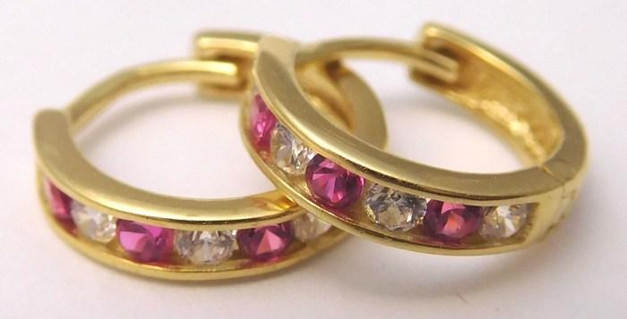 Zlaté náušnice - kruhy se zirkony a rubíny (dívčí) 585 1 6dc2eace08a