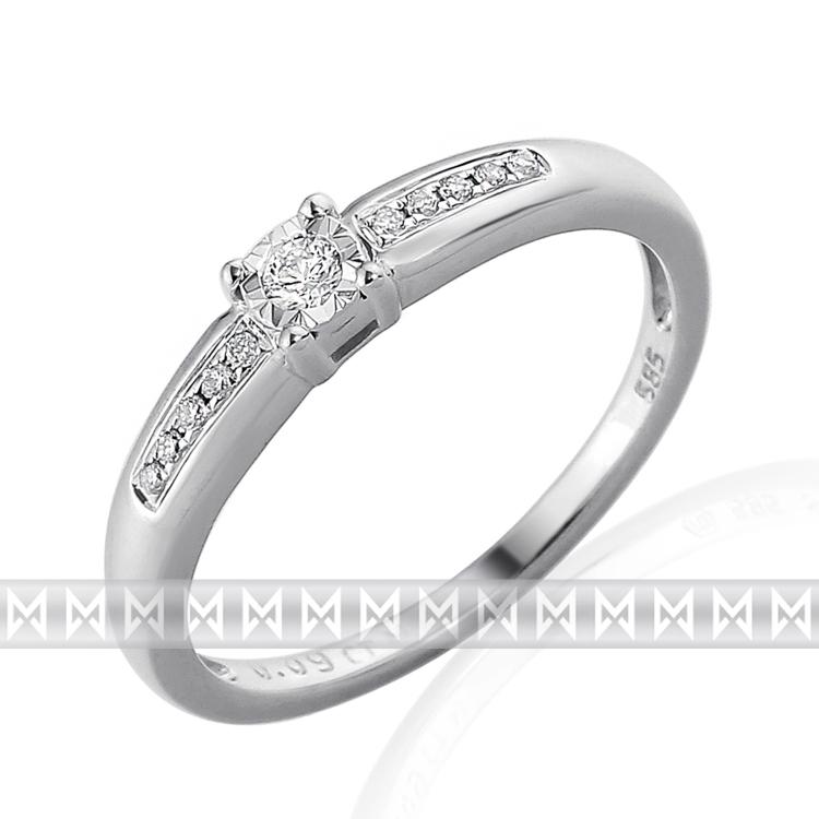 Zásnubní diamantový prsten zdobený diamanty v bílém zlatě PHILA 3861856 50c98b02074