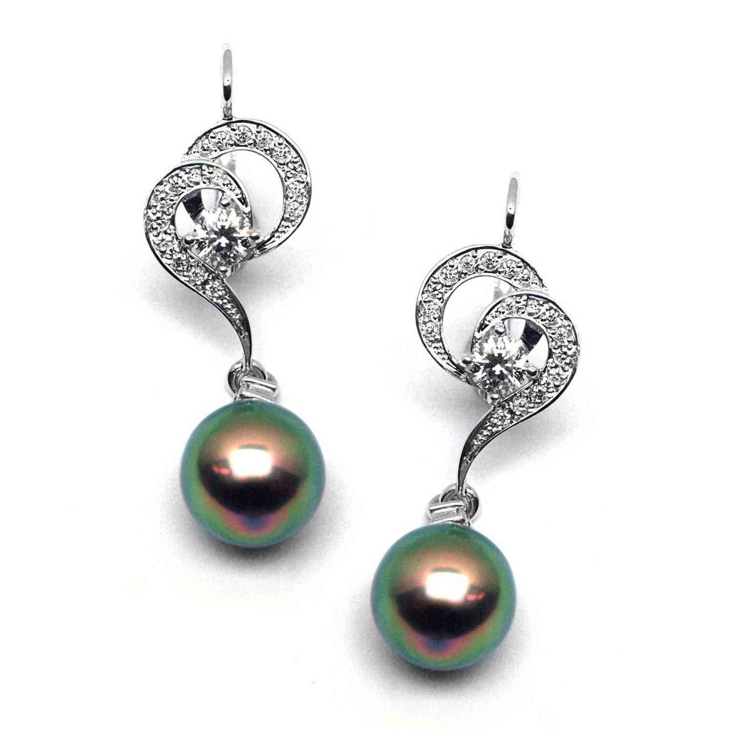 c1c5057cc Diamantové zlaté náušnice Náušnice s tahitskými perlami a diamanty  J-28334-17