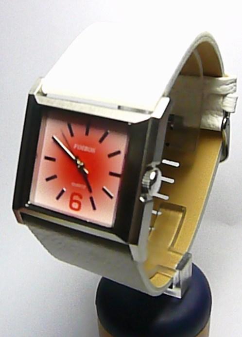 Luxusní bílé hranaté ocelové dámské hodinky Foibos 2564 s růžovo-červeným  čísel. 1b4e461bf8