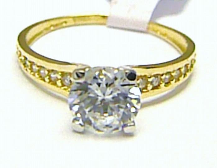 Luxusní mohutný zásnubní prsten s velkým zirkonem 585 1 630f8b2626d