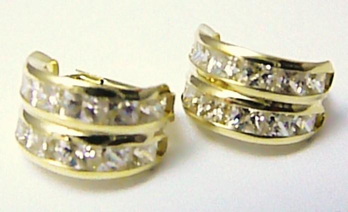 Mohutné zlaté velké kruhy - náušnice poseté zirkony 585 3 f61d5b6fa59
