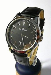 Luxusní pánské švýcarské hodinky Grovana 1204.1534 se safírovým sklem na  kůži 0662d15da0