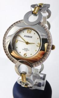Šperkové dámské hodinky s kamínky po obvodu Foibos 24721 BICOLOR e3b6fa9d164